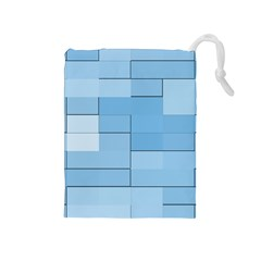 Blue Squares Iphone 5 Wallpaper Drawstring Pouches (medium)