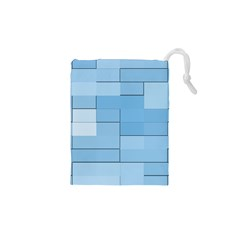 Blue Squares Iphone 5 Wallpaper Drawstring Pouches (xs)