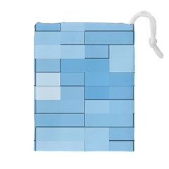 Blue Squares Iphone 5 Wallpaper Drawstring Pouches (extra Large)
