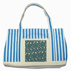 Space Rockets Pattern Striped Blue Tote Bag