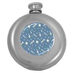 Space Rockets Pattern Round Hip Flask (5 Oz)