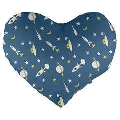 Space Rockets Pattern Large 19  Premium Heart Shape Cushions