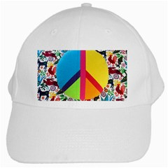 Peace Sign Animals Pattern White Cap