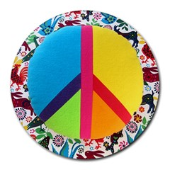 Peace Sign Animals Pattern Round Mousepads