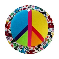 Peace Sign Animals Pattern Ornament (round)