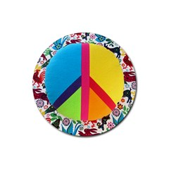 Peace Sign Animals Pattern Rubber Coaster (Round)