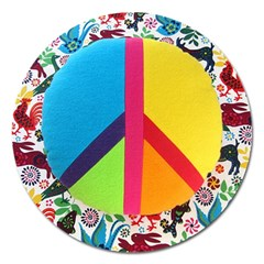 Peace Sign Animals Pattern Magnet 5  (Round)