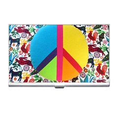 Peace Sign Animals Pattern Business Card Holders