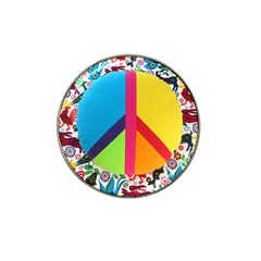 Peace Sign Animals Pattern Hat Clip Ball Marker (4 Pack)