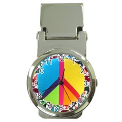 Peace Sign Animals Pattern Money Clip Watches