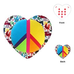 Peace Sign Animals Pattern Playing Cards (heart)