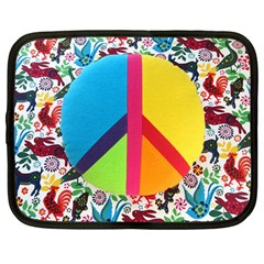 Peace Sign Animals Pattern Netbook Case (large)