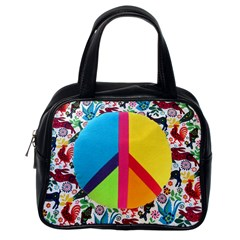 Peace Sign Animals Pattern Classic Handbags (one Side)