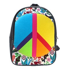 Peace Sign Animals Pattern School Bags(Large)