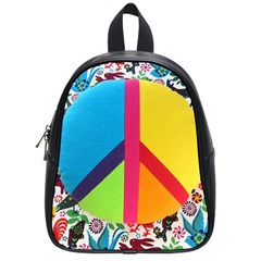 Peace Sign Animals Pattern School Bags (Small)