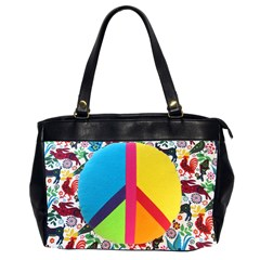 Peace Sign Animals Pattern Office Handbags (2 Sides)