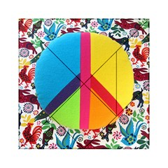 Peace Sign Animals Pattern Acrylic Tangram Puzzle (6  x 6 )