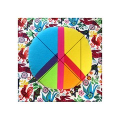 Peace Sign Animals Pattern Acrylic Tangram Puzzle (4  x 4 )