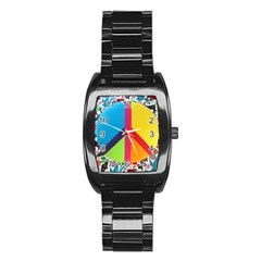 Peace Sign Animals Pattern Stainless Steel Barrel Watch