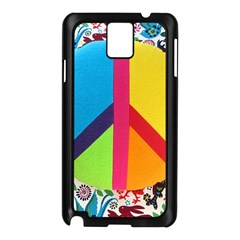 Peace Sign Animals Pattern Samsung Galaxy Note 3 N9005 Case (Black)