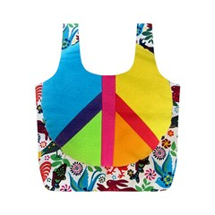 Peace Sign Animals Pattern Full Print Recycle Bags (m)