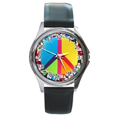 Peace Sign Animals Pattern Round Metal Watch