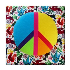 Peace Sign Animals Pattern Tile Coasters