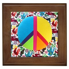 Peace Sign Animals Pattern Framed Tiles