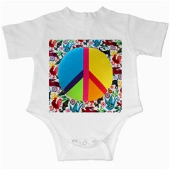 Peace Sign Animals Pattern Infant Creepers