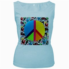 Peace Sign Animals Pattern Women s Baby Blue Tank Top