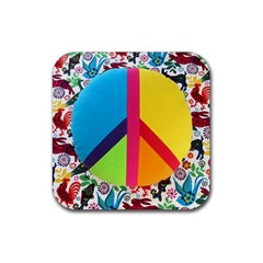 Peace Sign Animals Pattern Rubber Coaster (square)