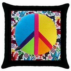 Peace Sign Animals Pattern Throw Pillow Case (Black)