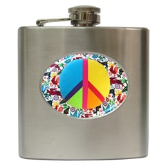 Peace Sign Animals Pattern Hip Flask (6 oz)