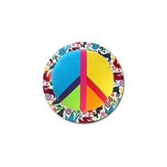 Peace Sign Animals Pattern Golf Ball Marker (10 Pack)