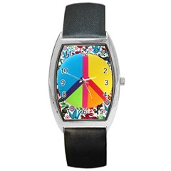 Peace Sign Animals Pattern Barrel Style Metal Watch
