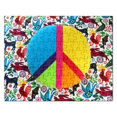 Peace Sign Animals Pattern Rectangular Jigsaw Puzzl
