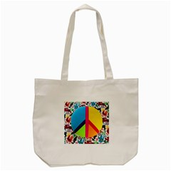 Peace Sign Animals Pattern Tote Bag (cream)