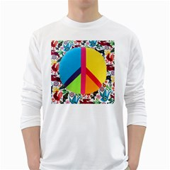 Peace Sign Animals Pattern White Long Sleeve T Shirts