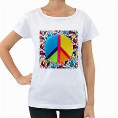 Peace Sign Animals Pattern Women s Loose Fit T Shirt (white)