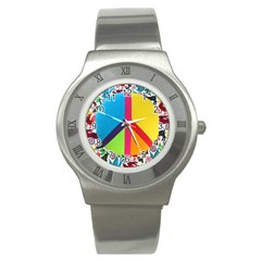 Peace Sign Animals Pattern Stainless Steel Watch