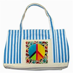 Peace Sign Animals Pattern Striped Blue Tote Bag