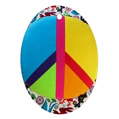 Peace Sign Animals Pattern Oval Ornament (Two Sides)