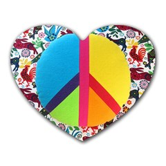 Peace Sign Animals Pattern Heart Mousepads