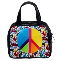 Peace Sign Animals Pattern Classic Handbags (2 Sides)