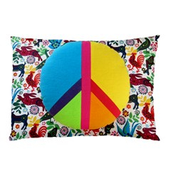 Peace Sign Animals Pattern Pillow Case