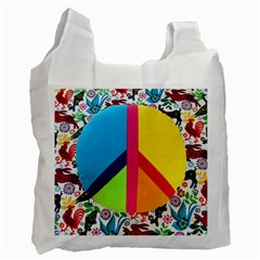 Peace Sign Animals Pattern Recycle Bag (two Side)