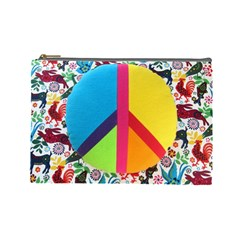 Peace Sign Animals Pattern Cosmetic Bag (large)