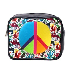 Peace Sign Animals Pattern Mini Toiletries Bag 2-Side