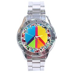 Peace Sign Animals Pattern Stainless Steel Analogue Watch