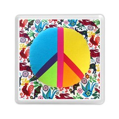 Peace Sign Animals Pattern Memory Card Reader (square)